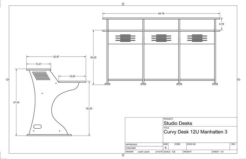 Recording Studio Desk 12 Rack Unit Manhattan Model Recording Workstation Baltic Birch Plywood Recording Studio Desk Studio Desk Recording Studio