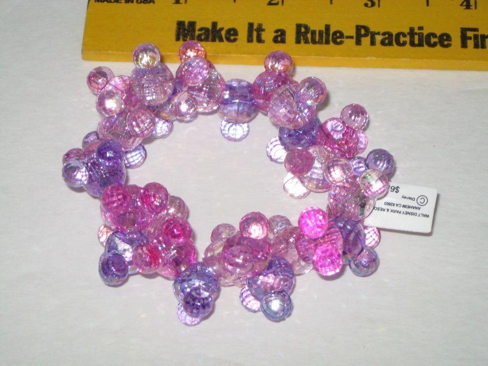 Walt Disney Parks Mickey Mouse Sparkly Pink & Purple Plastic Bead ...