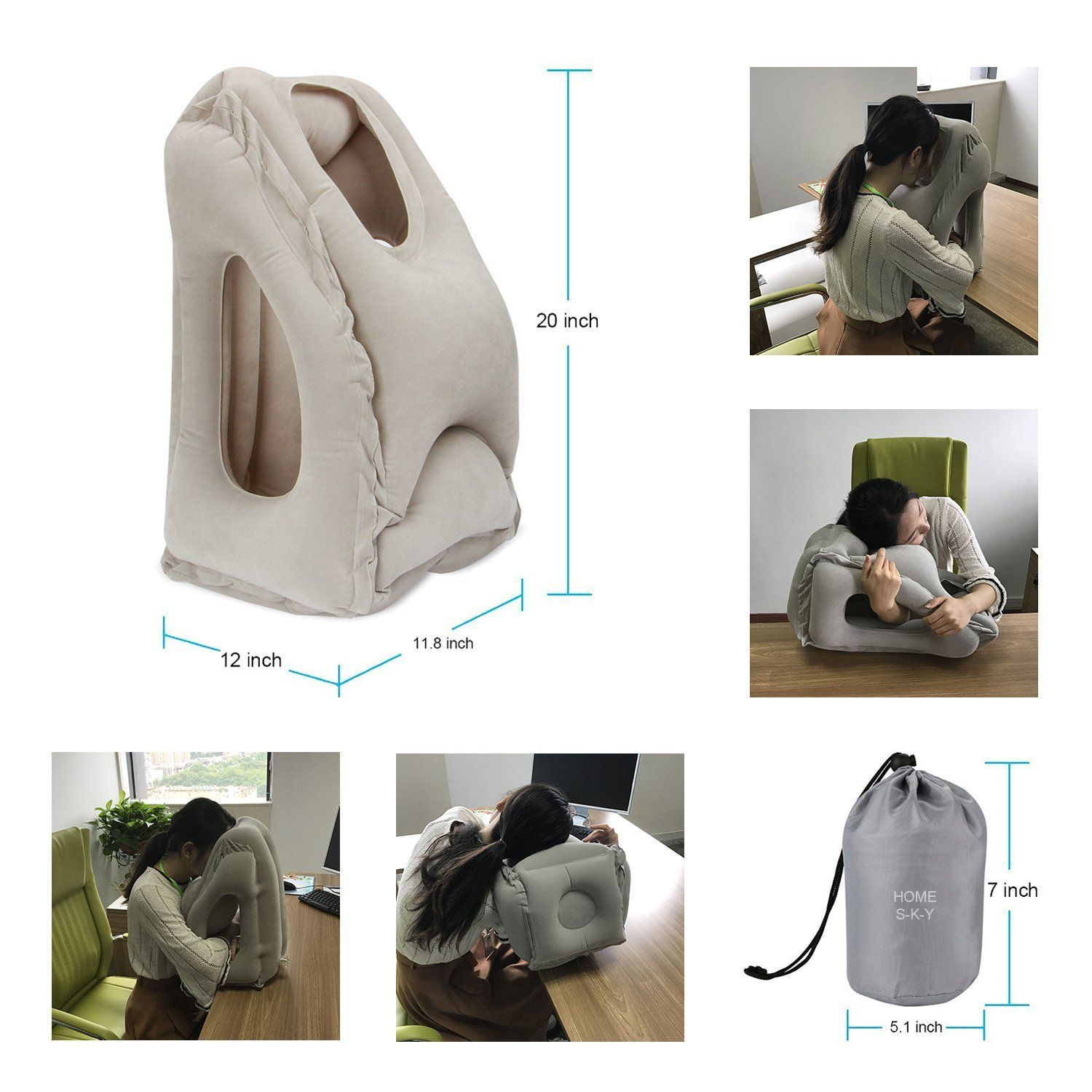 airplane soft washable cover packsack itm and extra self neck with in pump gray inflatable compact daydreamer pillow travel built caribiner