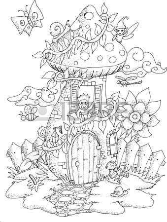 Black and white illustration of a fairy house with details