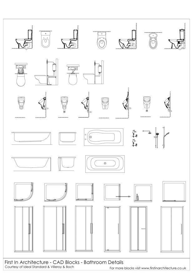Bathroom details cad blocks linh pinterest autocad for Autocad bathroom blocks