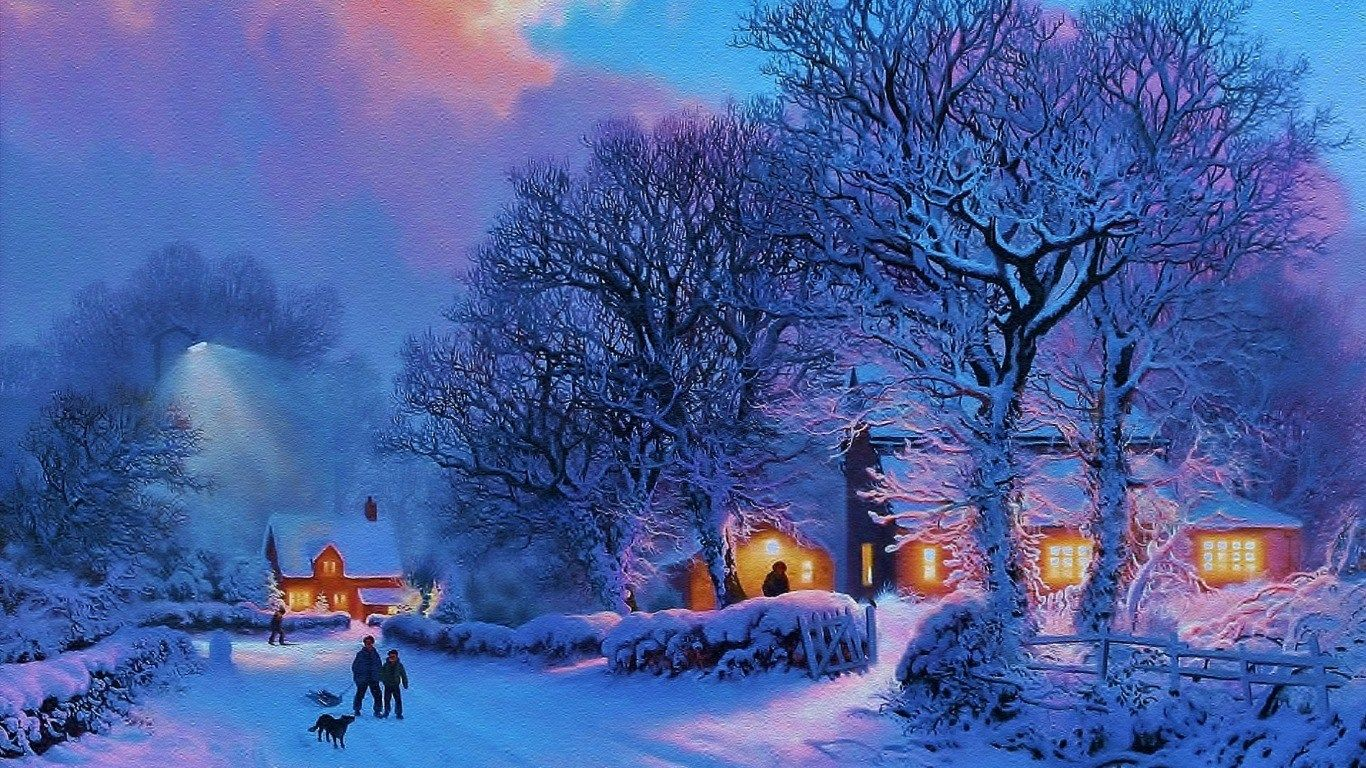 hd widescreen wallpapers - winter pic (sky round 1366x768