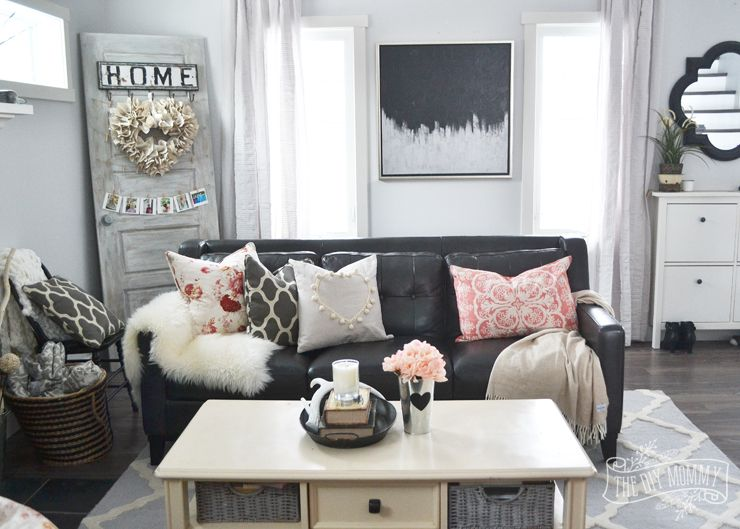 A Black Blush Pink Living Room Diy Pom Pom Heart Pillow
