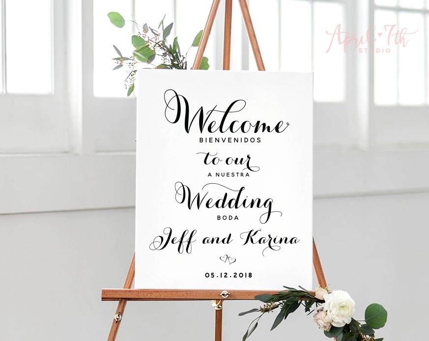 Welcome To Our Wedding Sign Bilingual Poster English Spanish Thank You Family And Friends Printable Bilingual Wedding Wedding Signs Welcome To Our Wedding