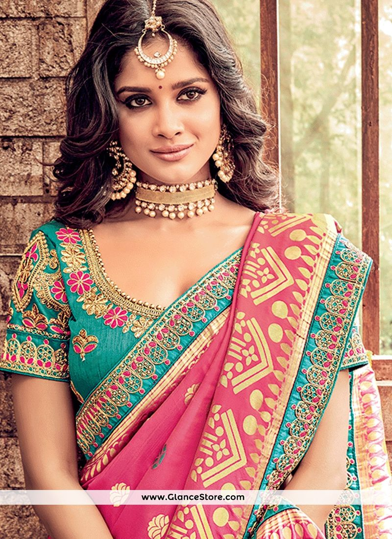 f17270783f01e Blooming Banarasi Silk Hot Pink Resham Work Designer Traditional Saree