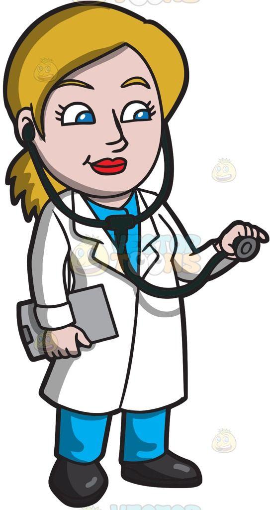 A Female Doctor Using A Stethoscope Cartoon Cartoon Clip Art Female Doctor