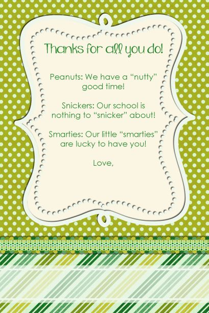 Squarehead Teachers Candy Thank you note printables Perfect for - thank you letter to teachers