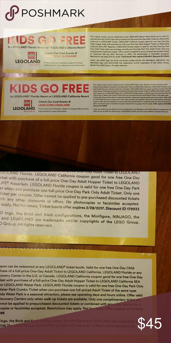 Lego land buy 1 adult get 1 child free Kids go free lego land