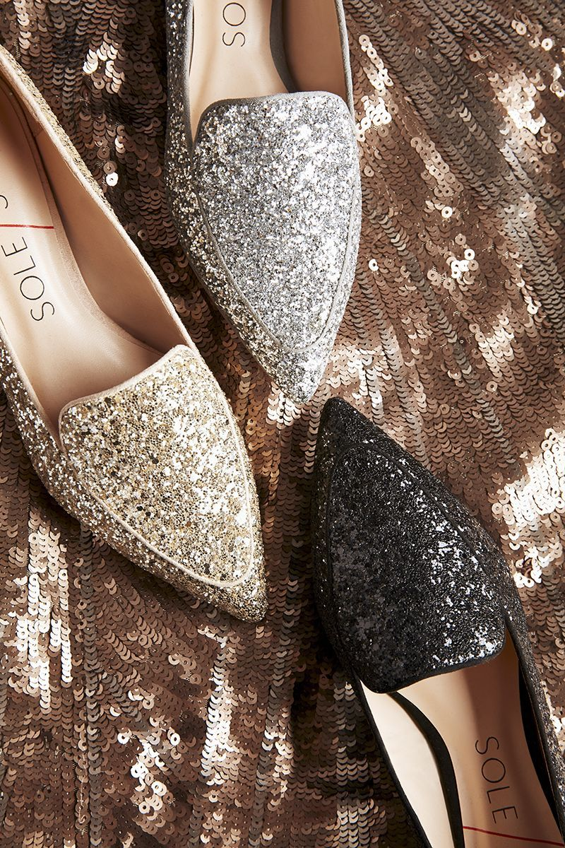 Pointed toe glitter flats   Sole