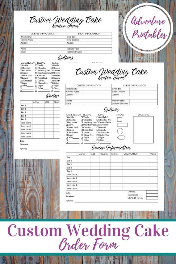 Custom Wedding Cake Order Form Bakery Details