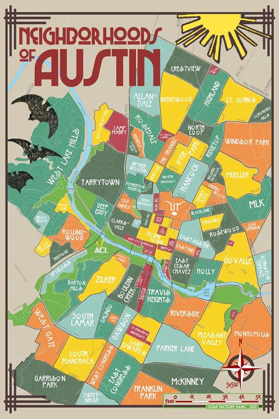 Neighborhood Map Austin Tx Original Neighborhoods of Austin Map // Austin Texas Print Poster