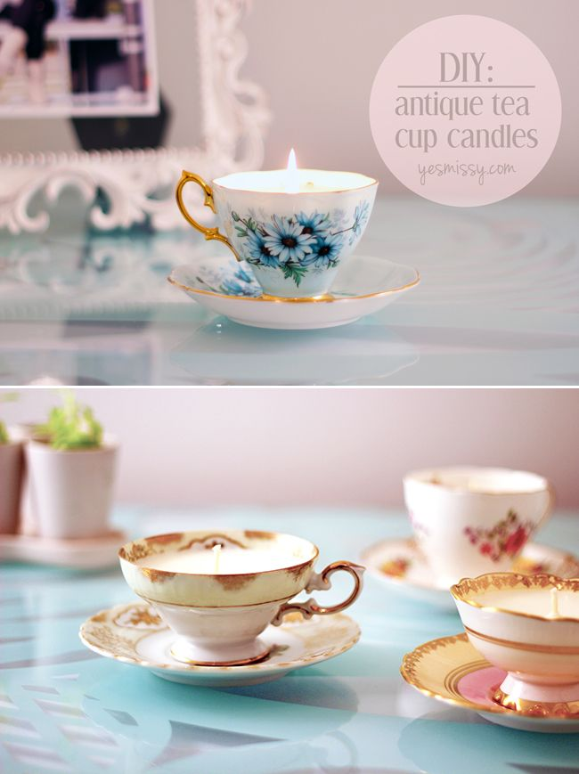 Upcycled Teacup Birthday Cake Candle