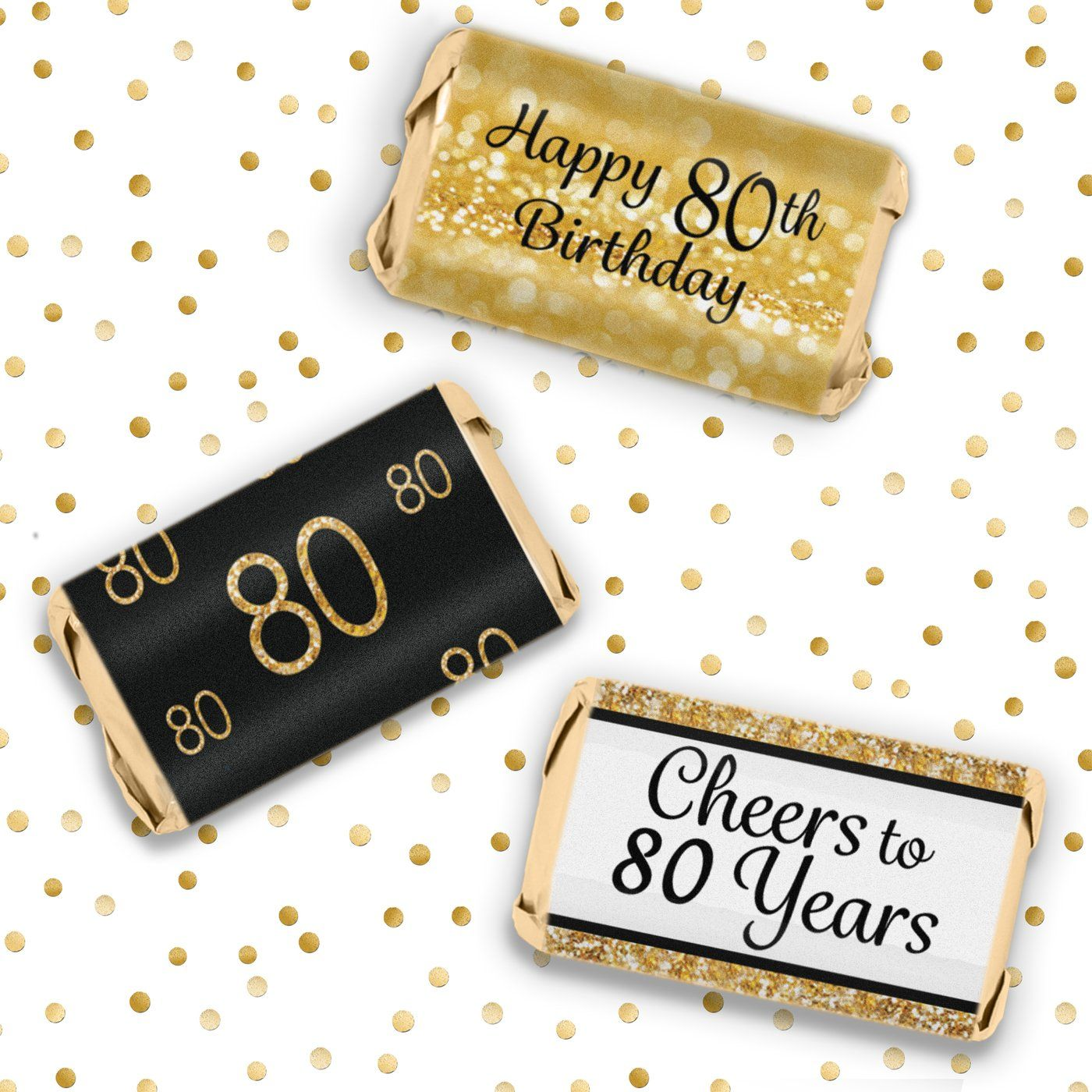 Black and Gold 50th Birthday Party Mini Candy Bar Wrappers 54 Stickers DISTINCTIVS
