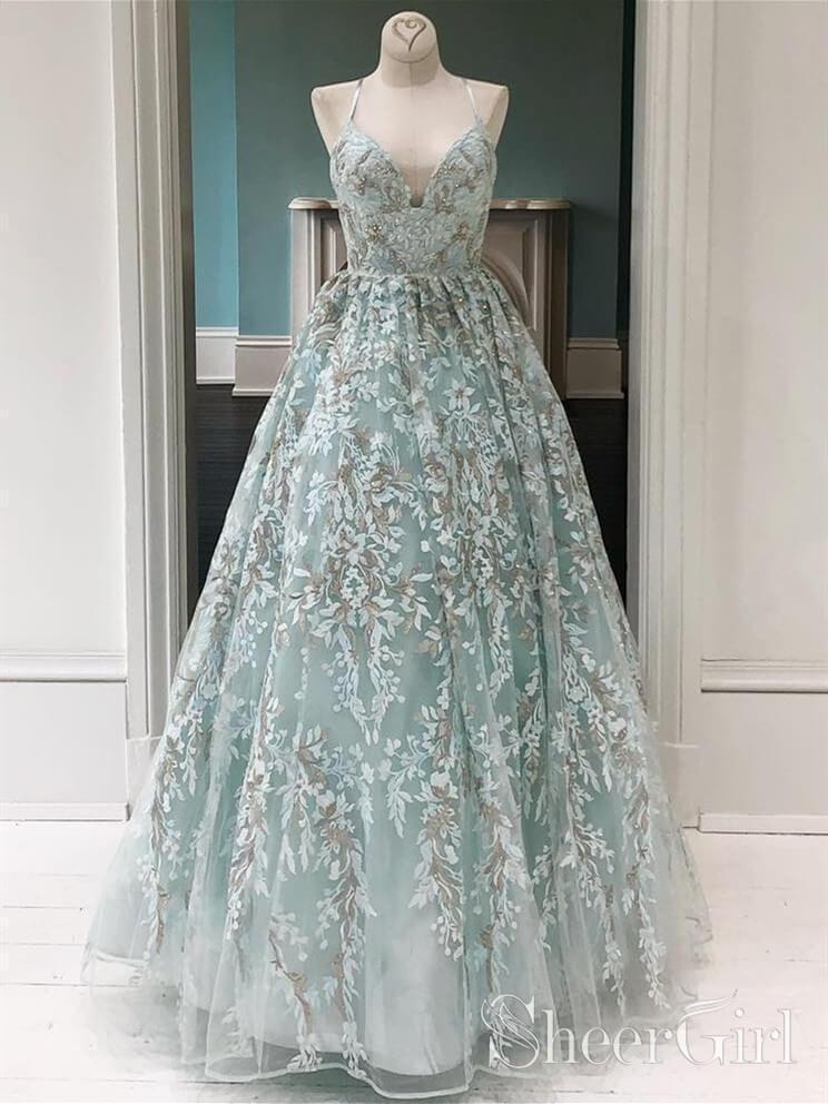 d32ffa283f Spaghetti Strap V Neck Floral Lace Prom Dresses Long ARD1972 in 2019 ...
