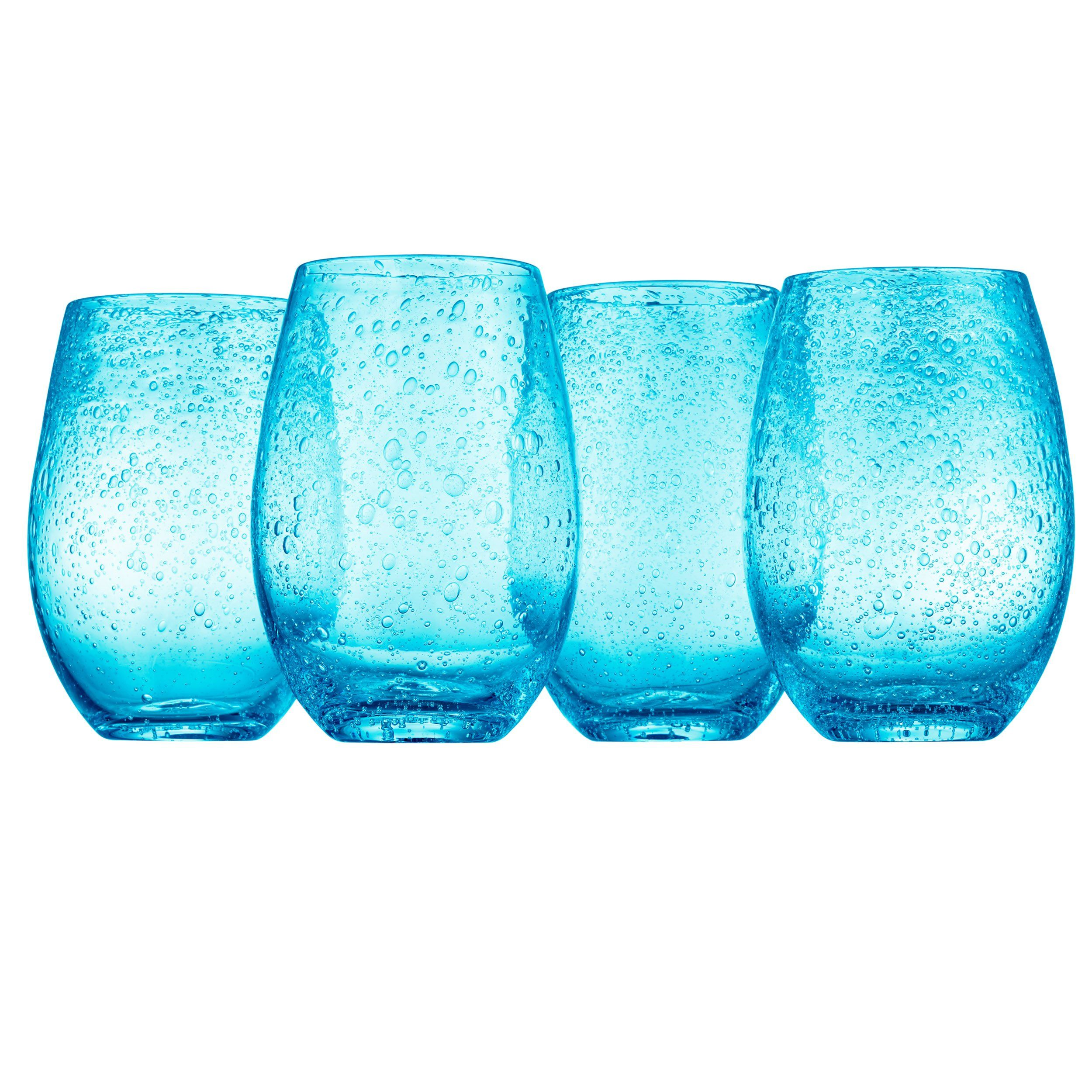 Artland Iris Stemless Glasses Turquoise Set Of 4 ** Click
