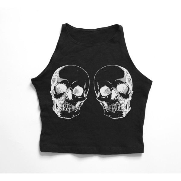 75105ba49f9999 SKULL TWINS Black high neck crop top ( 19) ❤ liked on Polyvore featuring  tops