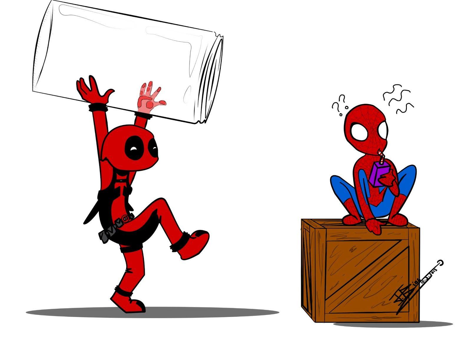 этой картинки дедпула и человека паука срисовать маленькие делом подготовил