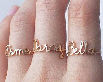 Custom Name Ring Personalized Name Ring Gold Name Ring Minimal