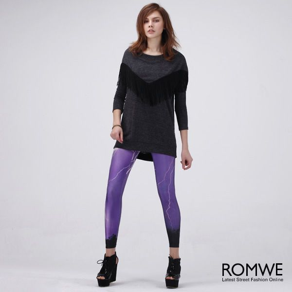 Lightning+Print+Leggings #Romwe