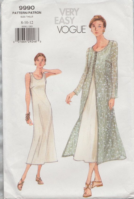 Very Easy Vogue 9990 / Sewing Pattern / Dress Overdress Duster Coat ...