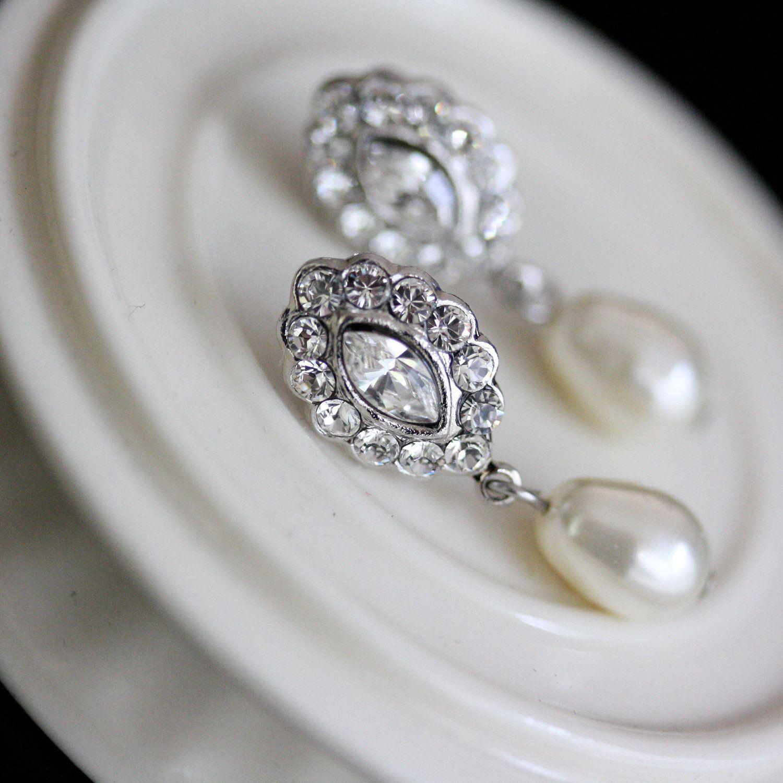 Bridal Earrings Swarovski Crystal Pearl Earrings Small Wedding Earrings  Vintage Style Wedding Jewelry Mae Drop