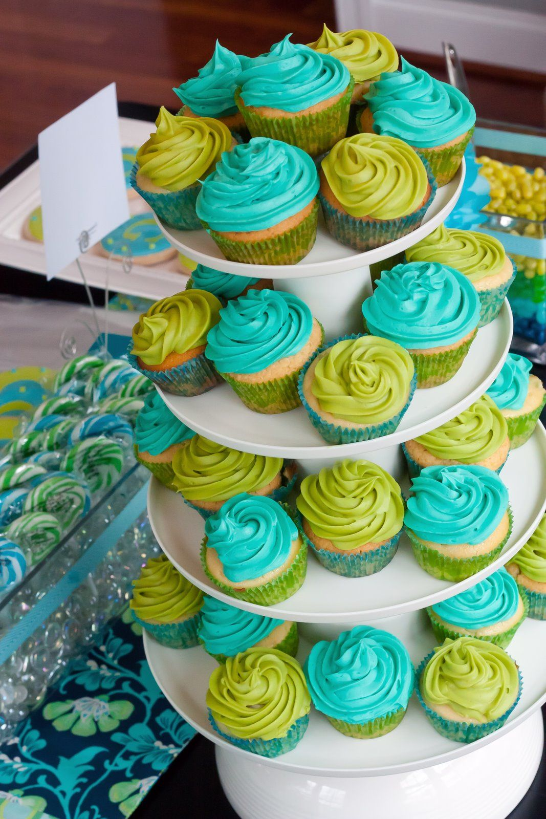 Turquoise and green cupcakes for the birthday boy!