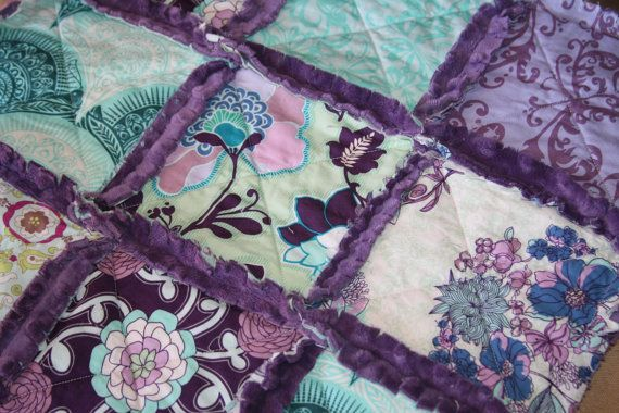 Baby Girl Gift Rag Quilt Lovey Security Blanket Purple