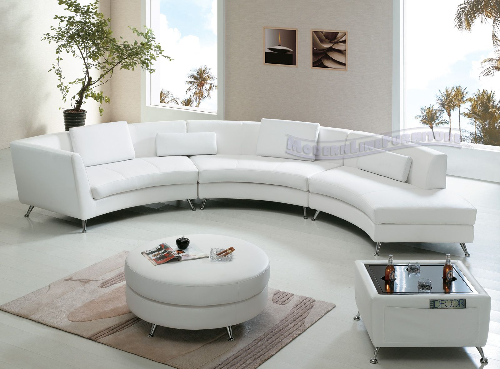 Fabulous Contemporary White Leather Open Chaise Sectional Sofa W Ibusinesslaw Wood Chair Design Ideas Ibusinesslaworg