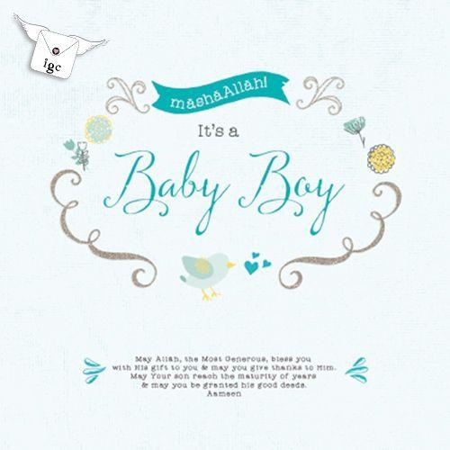 Bby01 baby boy card tweeting bird al hadiyyah gifts pinterest islamic greeting cards for new baby muslim new baby boy mubarak card mubarak card m4hsunfo