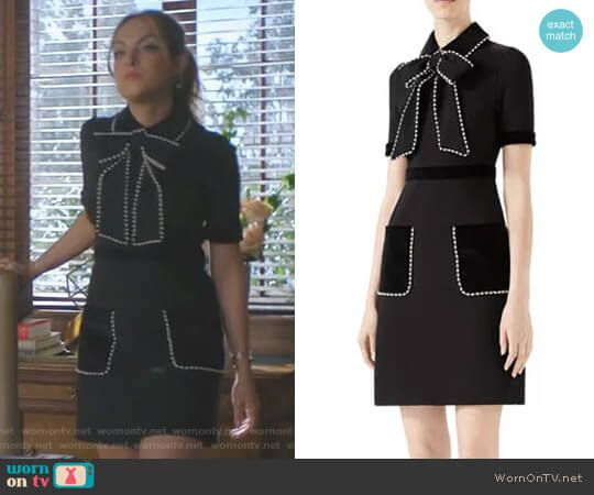 Fallon s black bow dress with pearls on Dynasty. Outfit Details  https    178680eb7