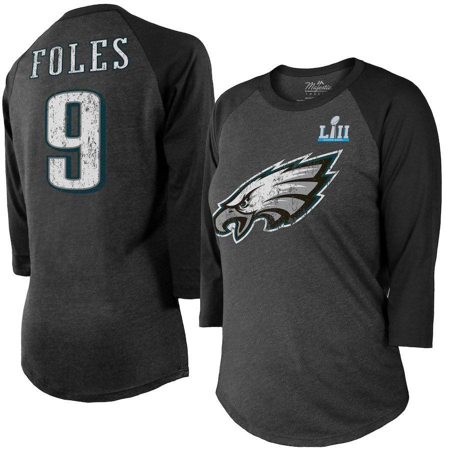 549c65bbdaf Nick Foles Philadelphia Eagles Majestic Threads Women's Super Bowl LII  Player Name & Number Tri-Blend 3/4-Sleeve Raglan T-Shirt – Charcoal/Black