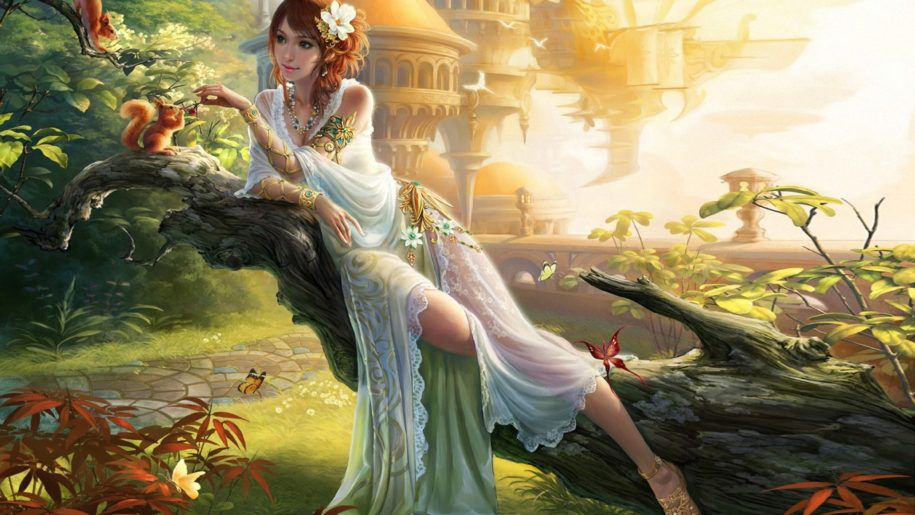 Beautiful Girl Princess In Beautiful White Dress Flower In The
