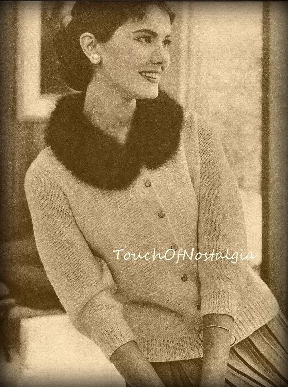 ANGORA Collar Sweater Cardigan Knitting by touchofnostalgia7 ...