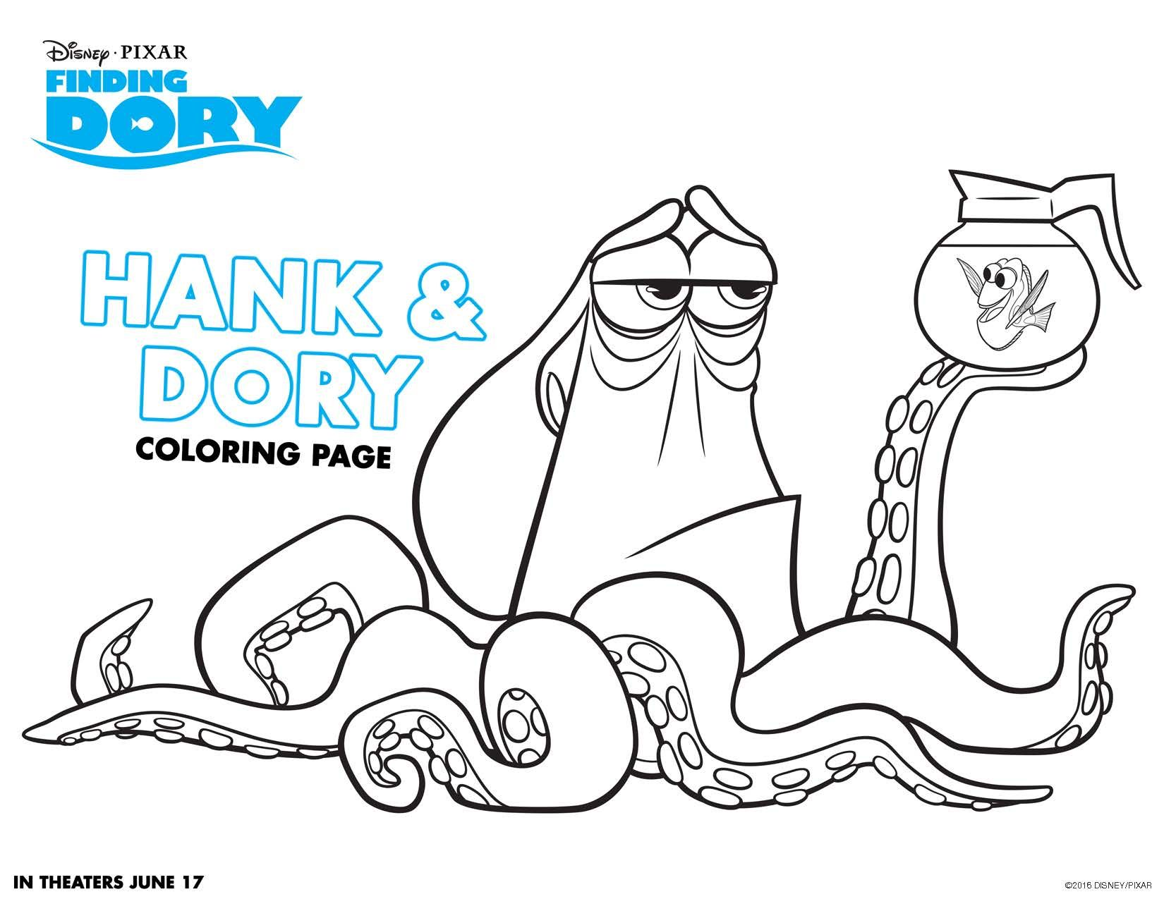 Fr free coloring pages for june - Finding Dory Coloring Sheets Hank And Dory