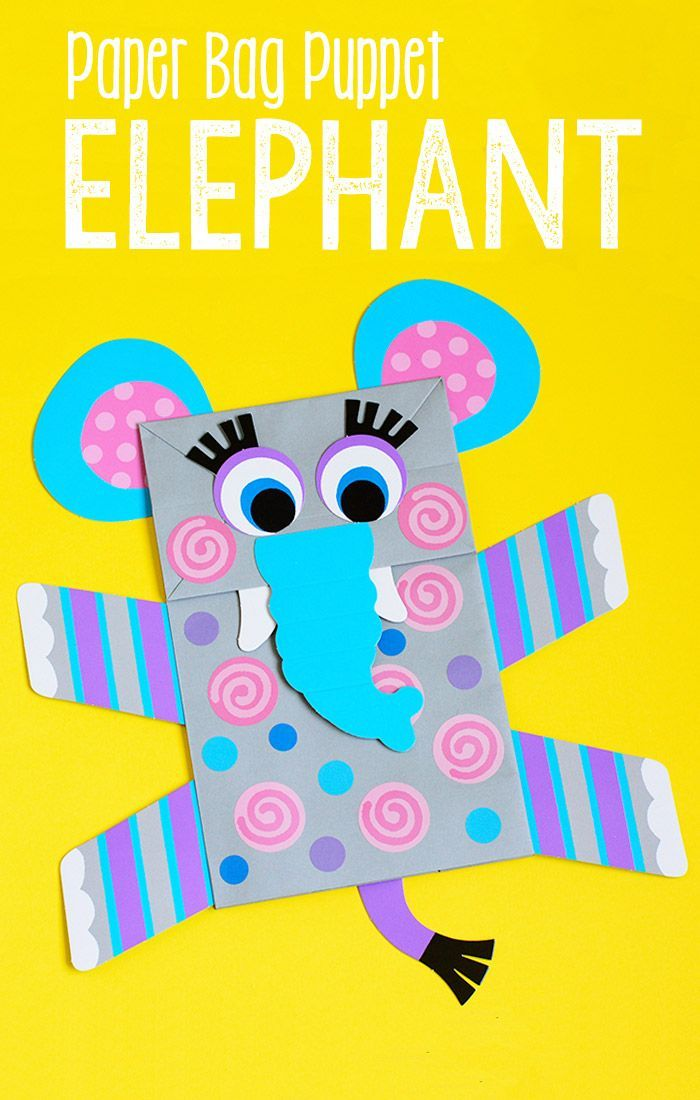 Craft Project Ideas For Kids Part - 47: Elephant Paper Bag Puppet. Fun Crafts For KidsEasy Craft ProjectsSummer ...