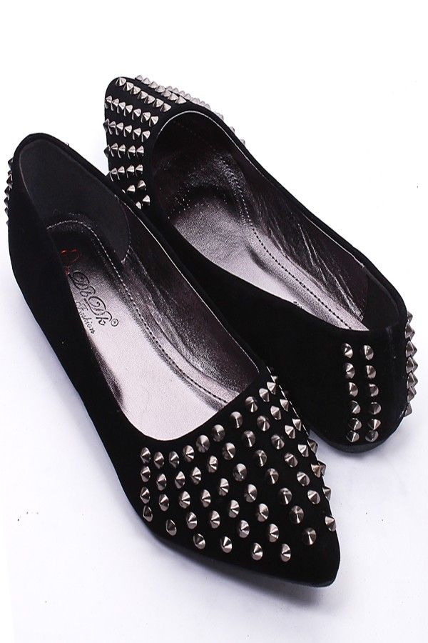 BLACK FAUX SUEDE SPIKE STUDDED POINTY TOE FLATS