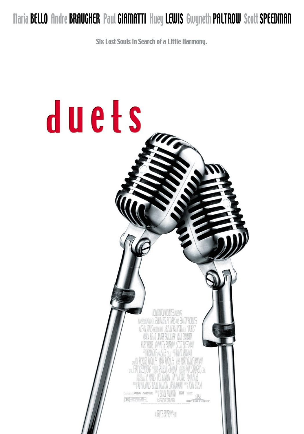 Duets , starring Huey Lewis, Gwyneth Paltrow, Paul Giamatti, Andre Braugher. A professional karaoke hustler reconnects with his daughter and a bored suburban businessman turns outlaw karaoke singer, among other plotlines. #Comedy #Drama #Music