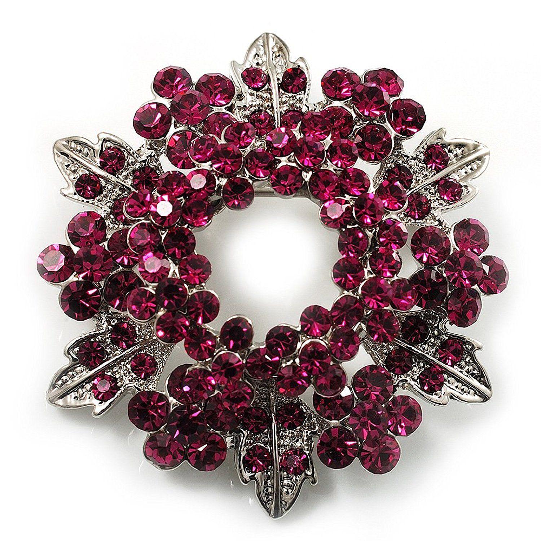 Lilac-Colored Austrian Crystal Brooch Wreath Style