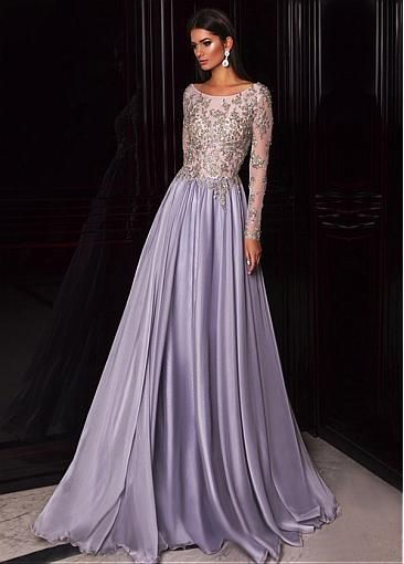 Gorgeous Tulle & Silk-like Chiffon Scoop Neckline A-line Evening Dresses With Beaded Lace Appliques