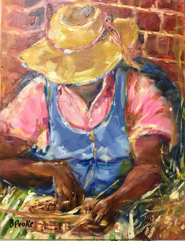 original oil painting//Gullah basket weaver//Charleston SC