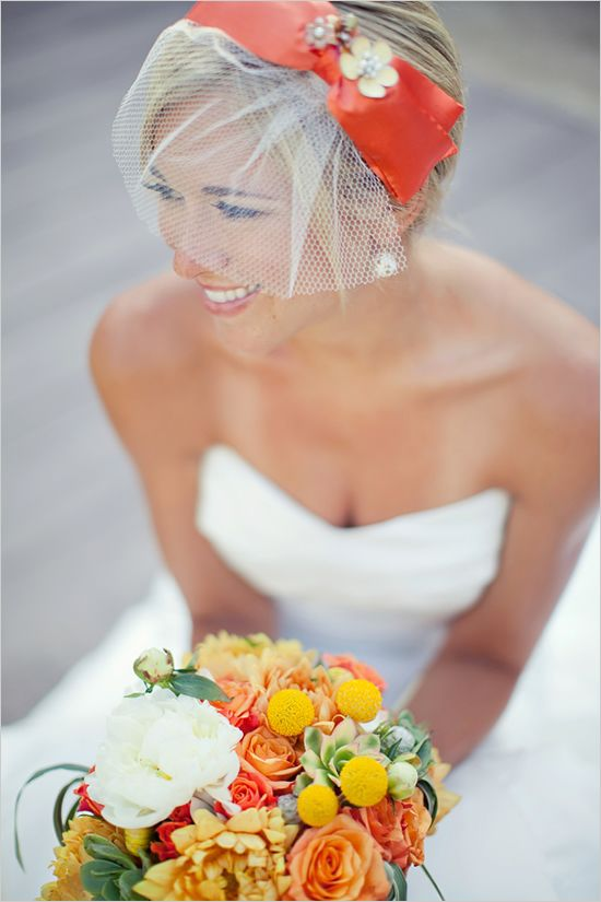 Gorgeous veil and head piece.  Love the pop of color!!    www.weddingchicks.com  Photographer:  Katie Neal Photo