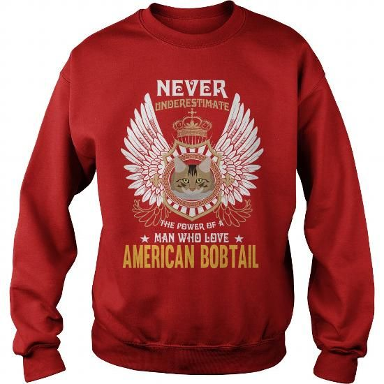 American Bobtail Power Of A Man Who Loves American Bobtail Cat Crew Sweatshirts T-Shirts, Hoodies ==►► Click Order This Shirt NOW!