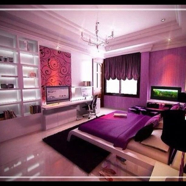 roomsforeva | #purple #black #white #bed #beds #bedding #bedroom ...