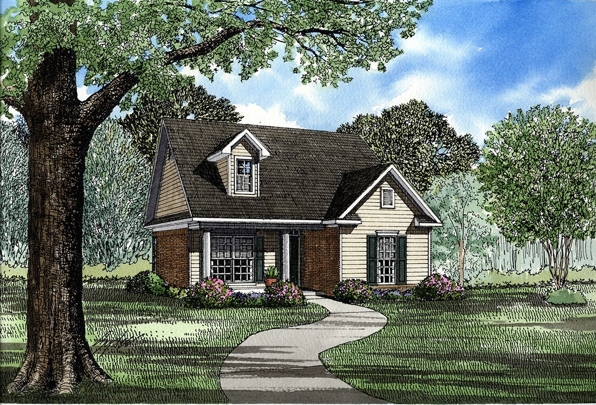 Southern Traditional - 59059ND   1st Floor Master Suite, CAD Available, Corner Lot, Cottage, PDF, Traditional   Architectural Designs