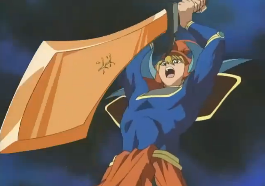 Joey runs to attack the card of Bakura, in a desperate attempt to destroy it before it was activated in the next turn