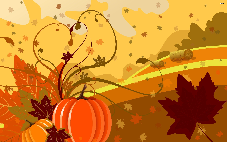pumpkin and leaves wallpaper digital art wallpapers 1864