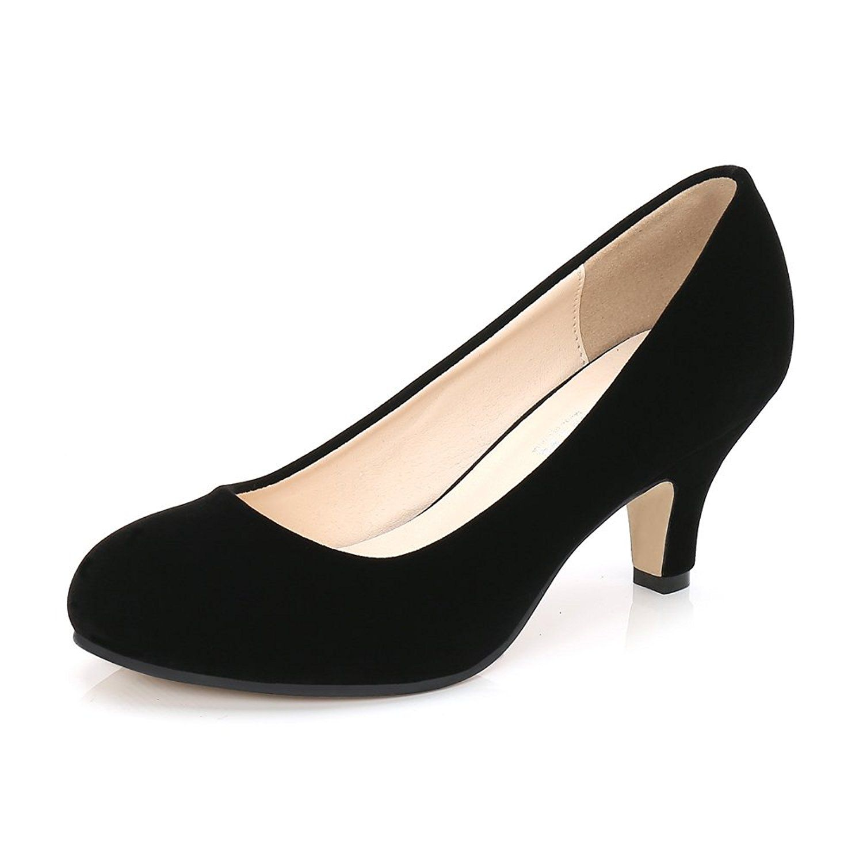 Amazon Com Ochenta Women S Closed Round Toe Low Kitten Heel Slip On Dress Pump Black Velvet Tag 41 Us B M 9 5 Pumps Heels Kitten Heel Shoes Kitten Heels