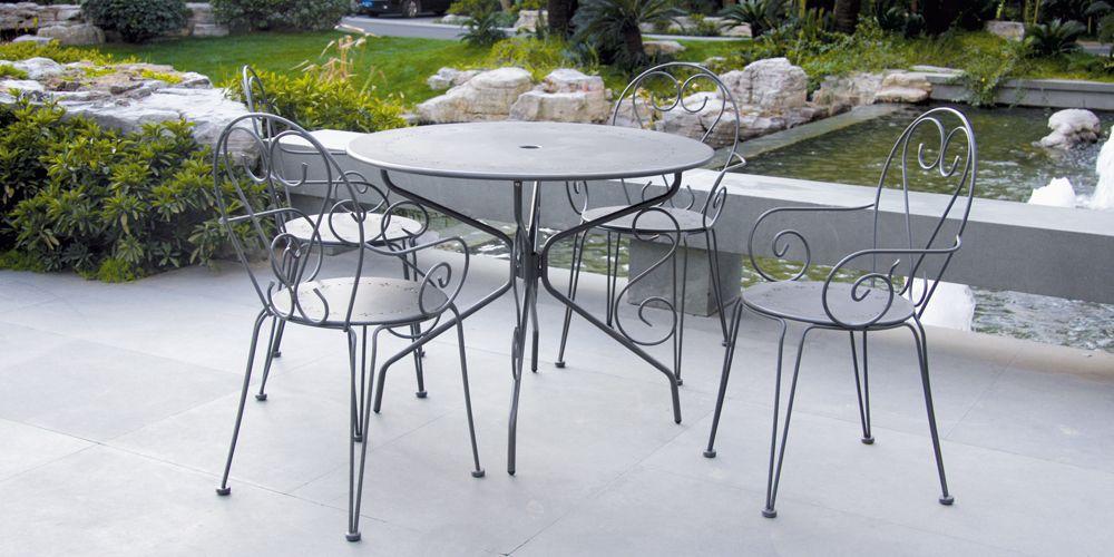 Salon de jardin métal gris ROMANCE : 1 table ronde + 4 ...