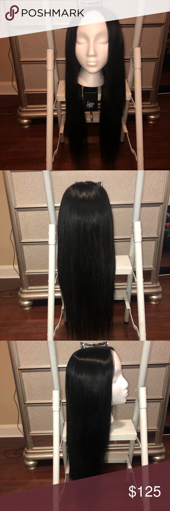 Straight Closure Wig Hand made wig using 3 bundles 16 inch, 18 inch, 20 inch Brazilian body wave from Hairsofab and a 14 inch closure from a different company. The color is dark brown. Hair can be straightened and curled. It is very soft and tangle free. Accessories Hair Accessories #brazilianstraightening