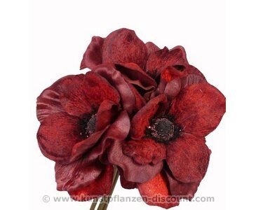Kunstpflanzen Discount kunstblumen bukett mit anemonen 3 rotfarbige blüten länge 20cm